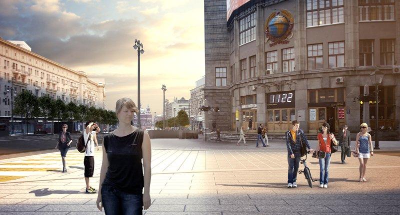 В интернете появилось видео панорамной съемки обновленной Тверской