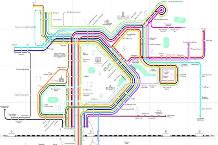 Схема движения автобусных